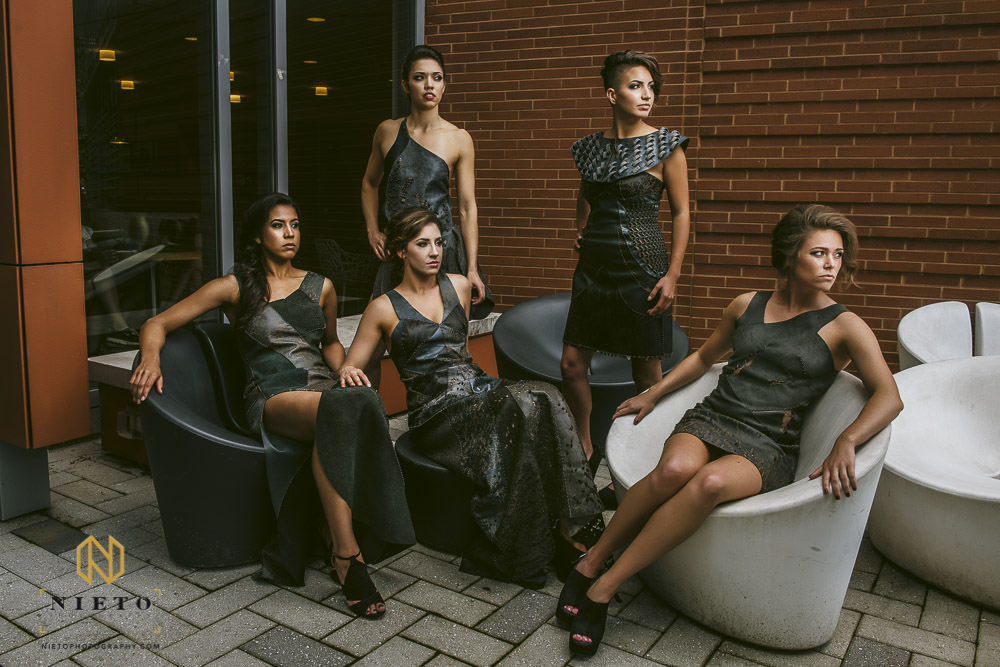 group shot of Laura Wykers spring fashion line