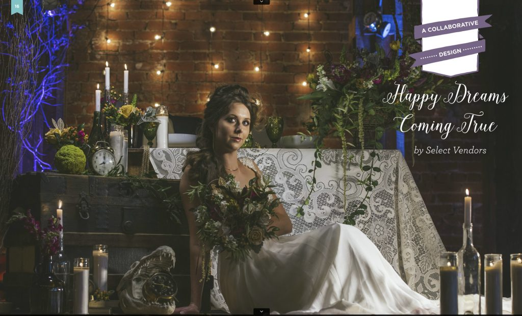 Model in wedding gown surrounded by candles and lights and flowers