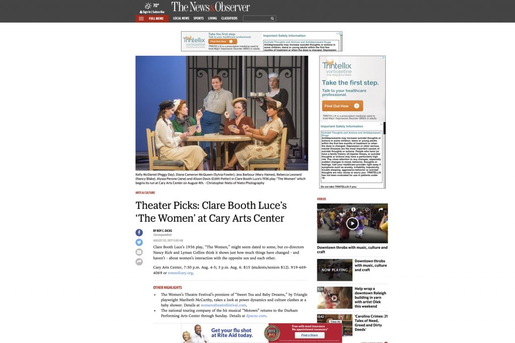 Newspaper article on The Women theater review