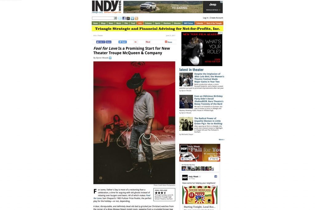 portrait featured in article for indy week article on Fool for Love