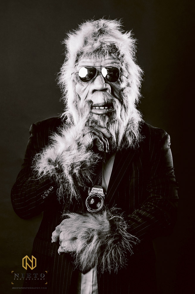 man in Yeti outfit for promotional shoot