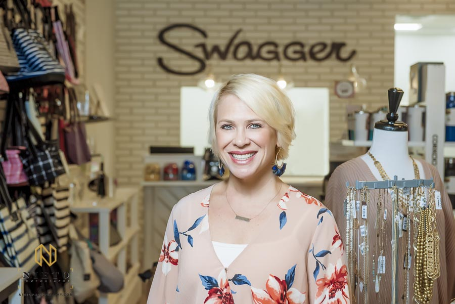 headshot of mandy becker owner of Swagger in her new shop