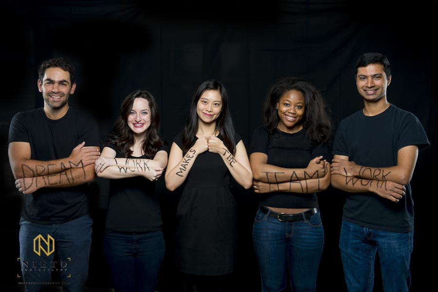 Duke MBA student pose for portrait while in different posses