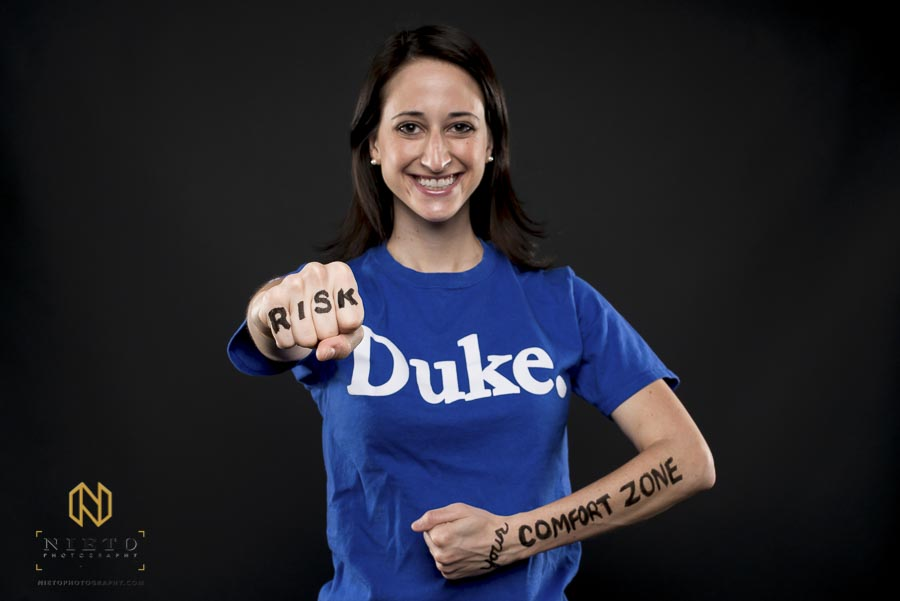 female Duke MBA student posing for Reflects portrait