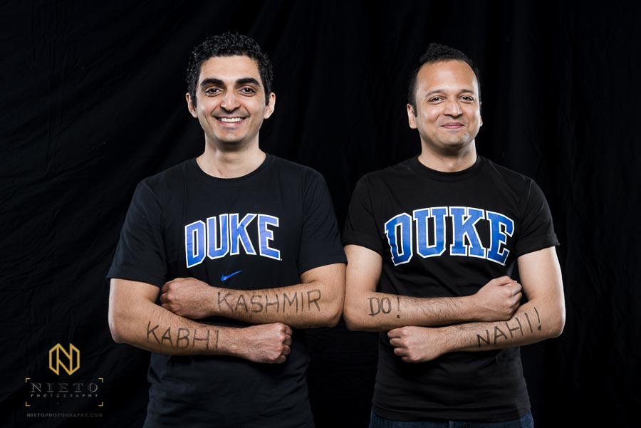 friends pose for Duke Fuqua Reflects portrait