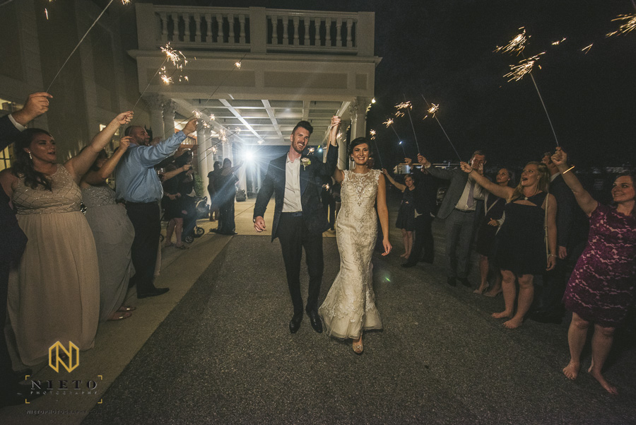 bride and groom at their sparkler exit at the Landmark