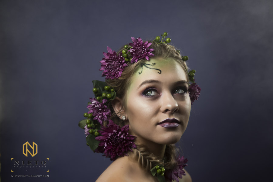 Model with Purple flower crown and neck piece