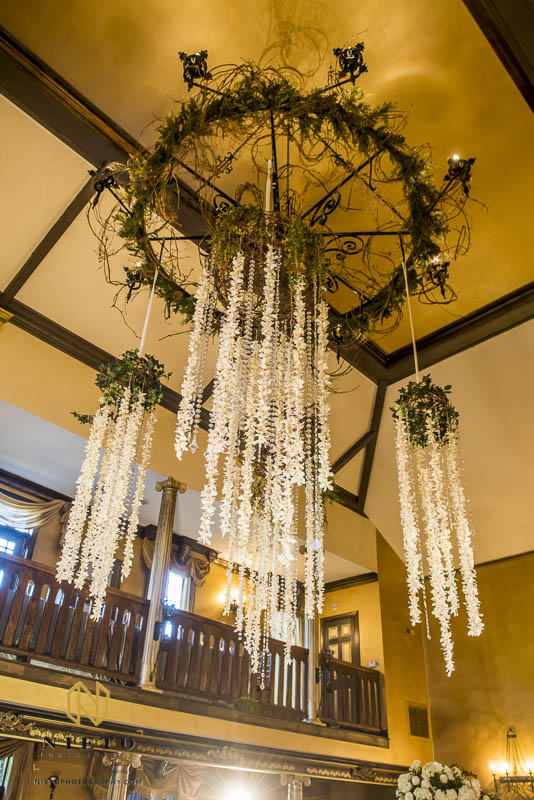 Floral garlands hanging from the chandelier at Barclay Villa