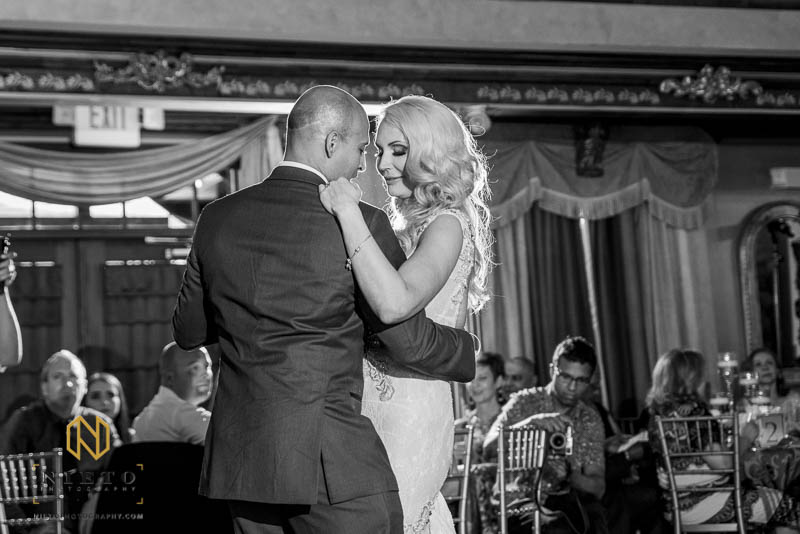 black and white picture of the bride and groom dancing during their Barclay Villa wedding reception