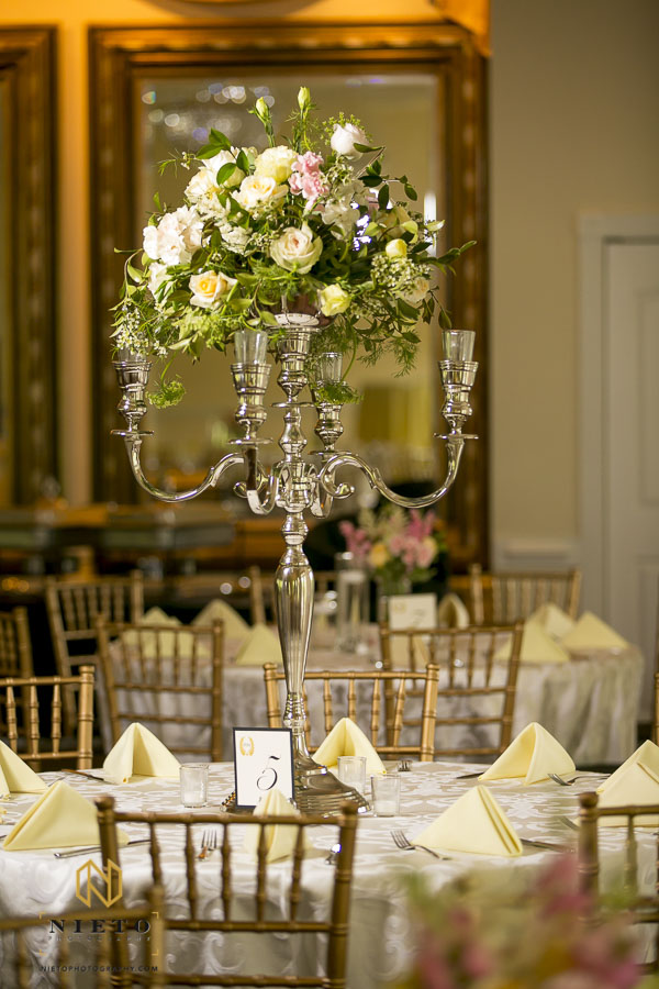 Floral center pieces in the ballroom of the Hudson Manor