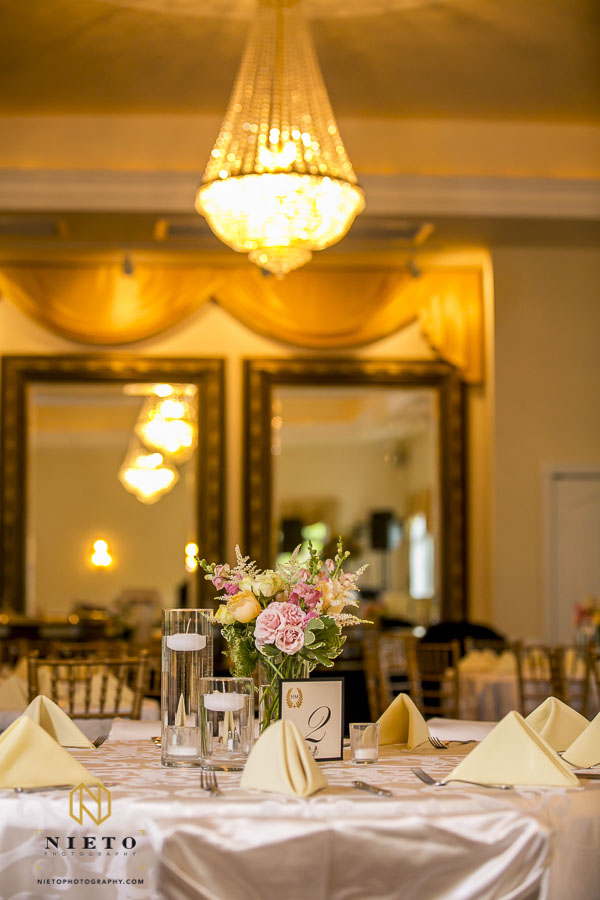 smaller floral centerpiece at the Hudson manor