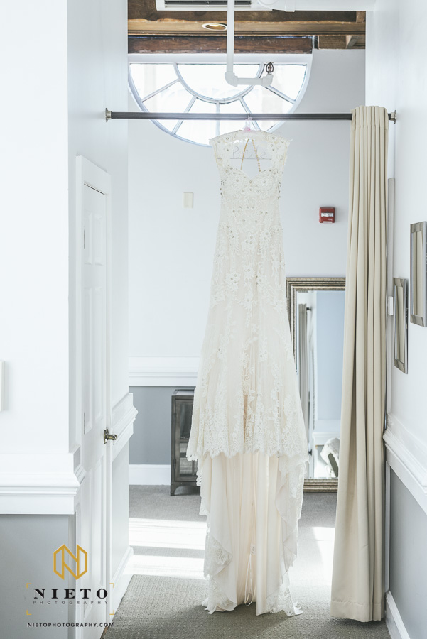 wedding gown hanging in the bridal suite in Market Hall