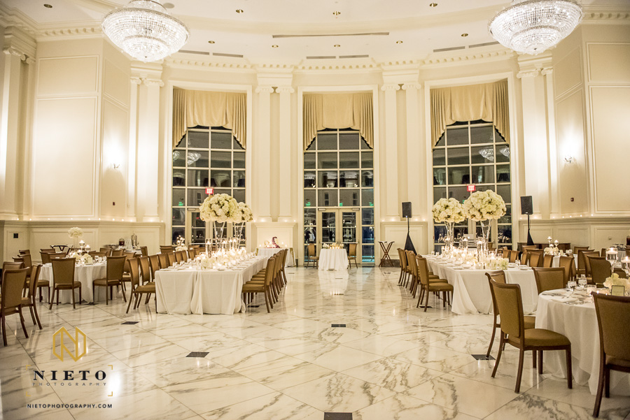 wide view of the decorated Park Alumni Center ballroom