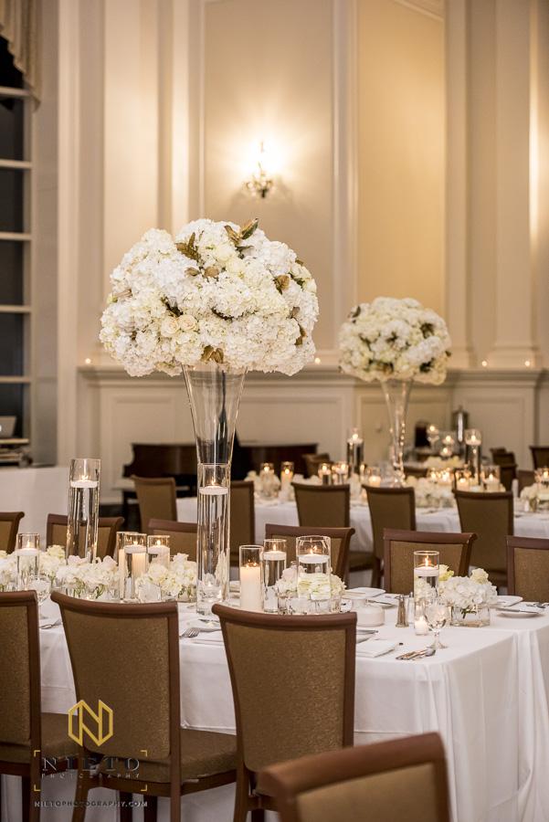 Floral center pieces at a Park Alumni Center wedding reception