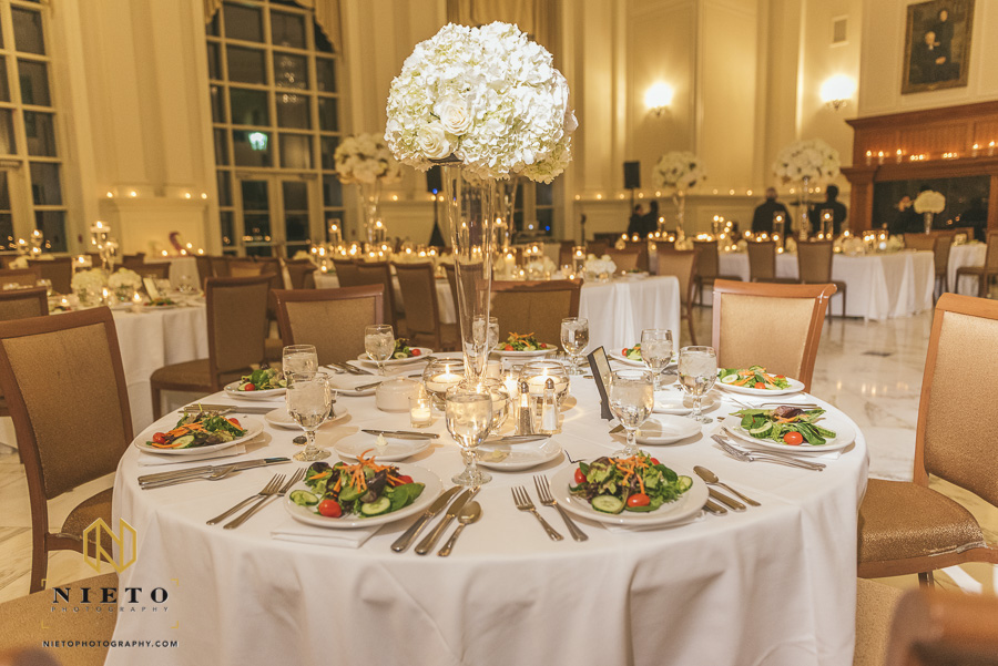 a set table for a wedding reception at Park Alumni Center