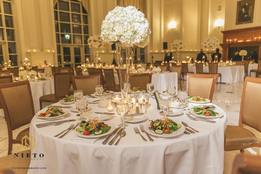 a set table for a wedding reception at Park Alumni Center