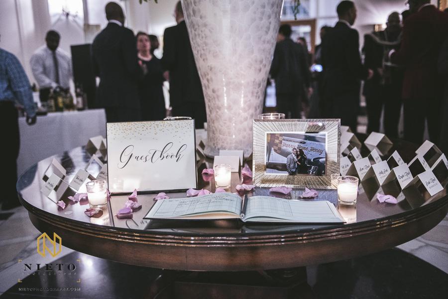wedding reception sign in book at Park Alumni center