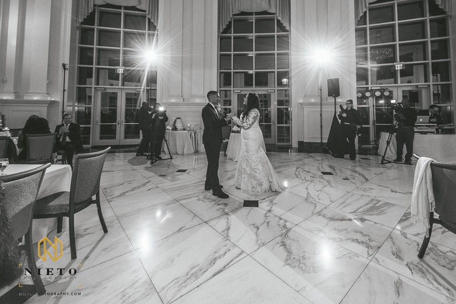 black and white image of the bride and groom dancing at their park alumni center wedding reception