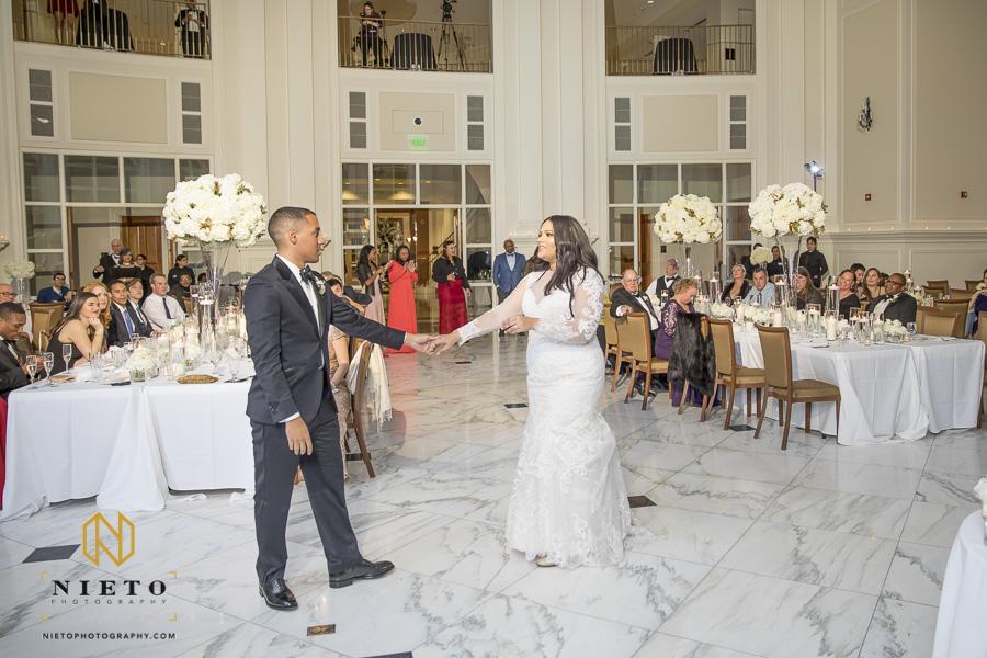 bride and groom dancing at their Park Alumni Center wedding reception