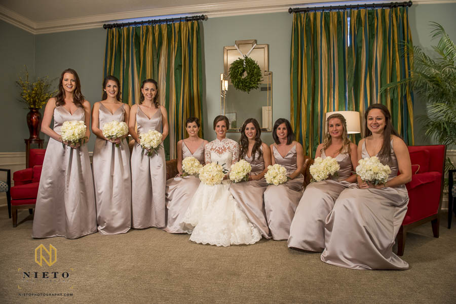 the bride and her bridesmaids sitting in the parlor at Hayes Barton Baptist