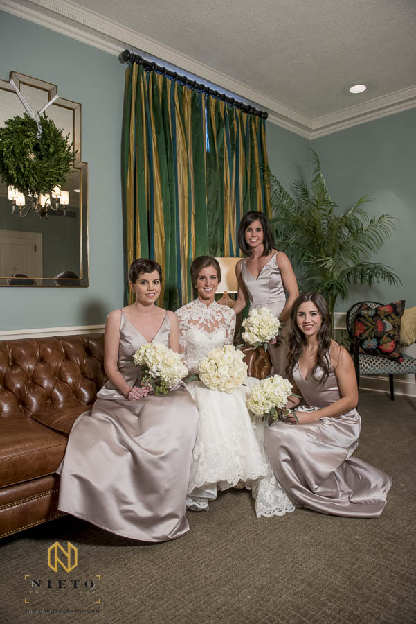 Bride sitting with her sisters in the parlor at Hayes Barton Baptist Church
