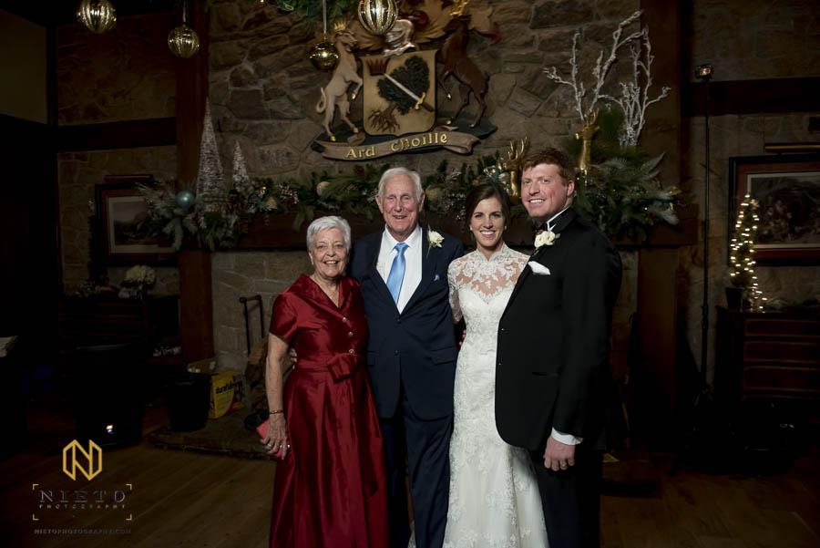 bride and groom pose with brides maternal grandparents who just celebrated their 60th wedding anniversary