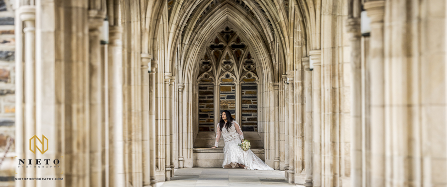 wide shot of the bride sitting in outside Duke Chapel