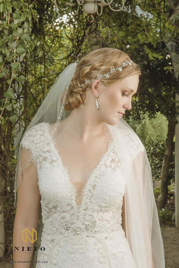portrait of the bride showing her profile