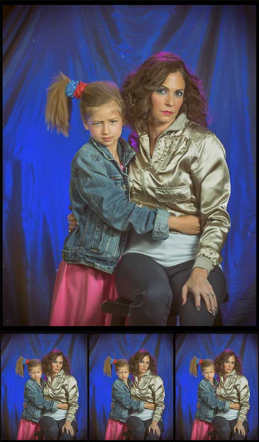 mother and daughter posing for a 1980s glamour shot for mother's day portraits