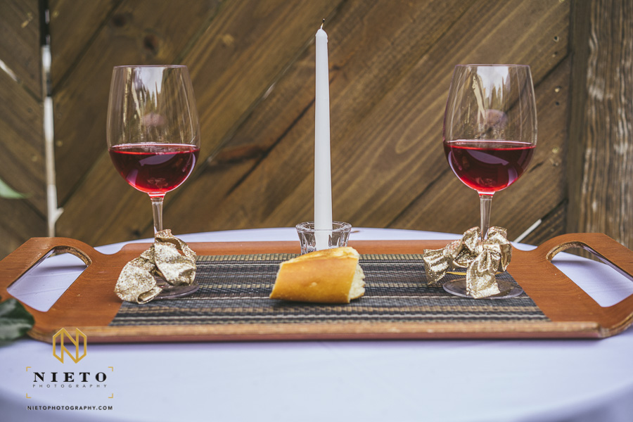 the wine and bread on the communion table outside of Market Hall
