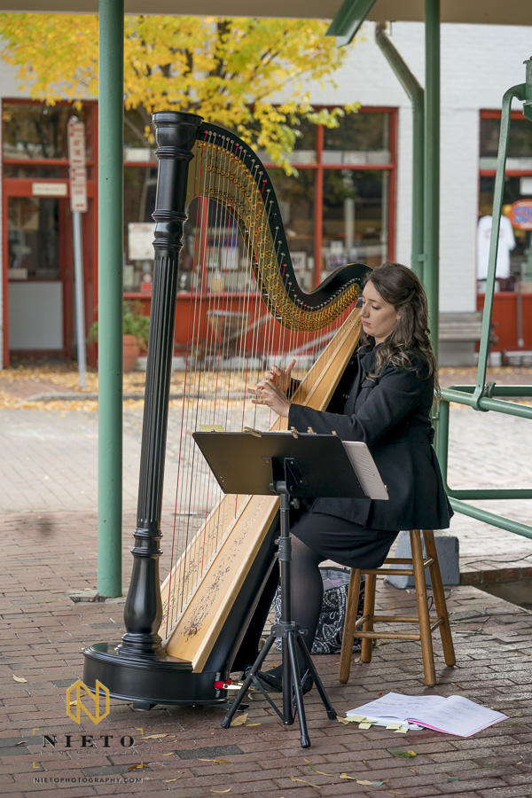 Harpist playing for guest before a Market Hall wedding