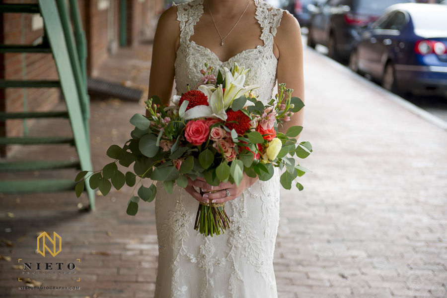 close up of the bride holding her bouquet from Fallons Flowers