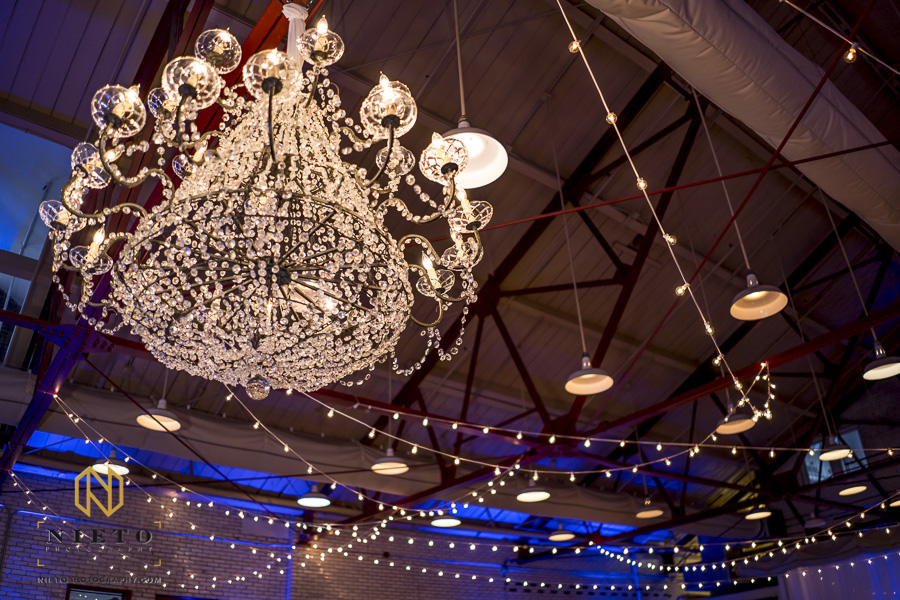 Themeworks Creative chandelier hanging at a Market Hall wedding