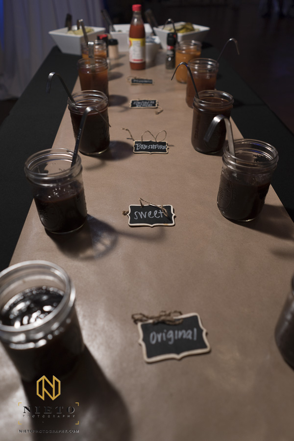 different types of bbq sauces at a Market Hall wedding buffet