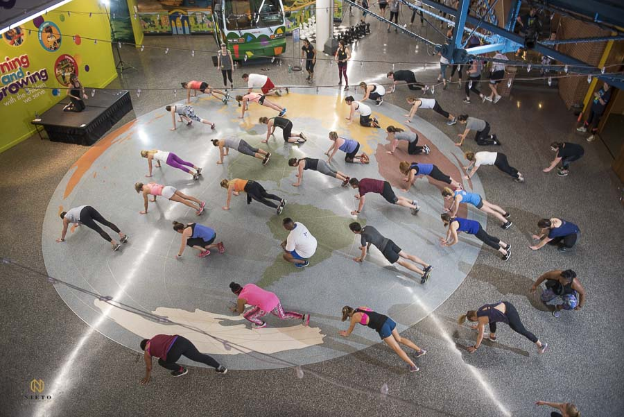 ariel view of Raleigh Group Fitness guest doing push ups