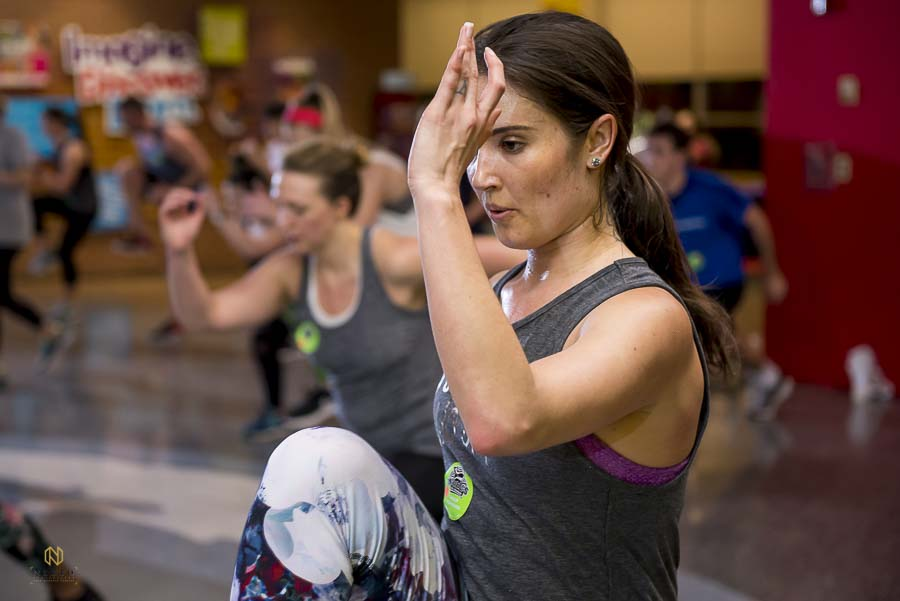 close up of woman working out during the Raleigh Group Fitness winter work out