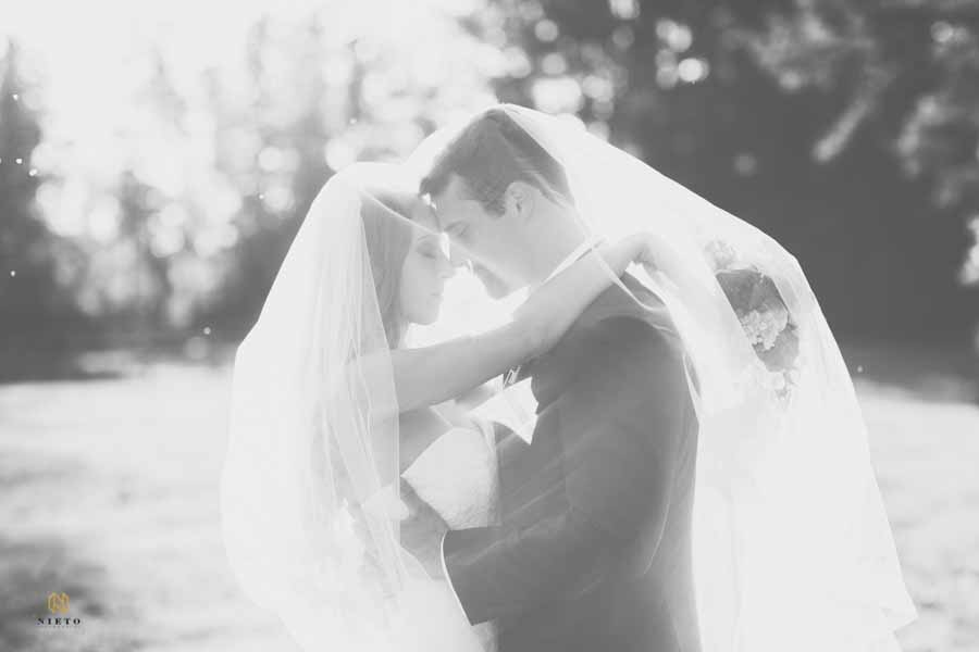 black and white image of the bride and groom holding each other under the brides veil