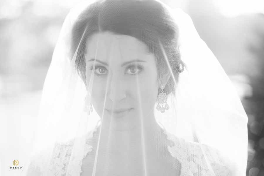Black and white portrait of a bride looking at the camera from behind her veil