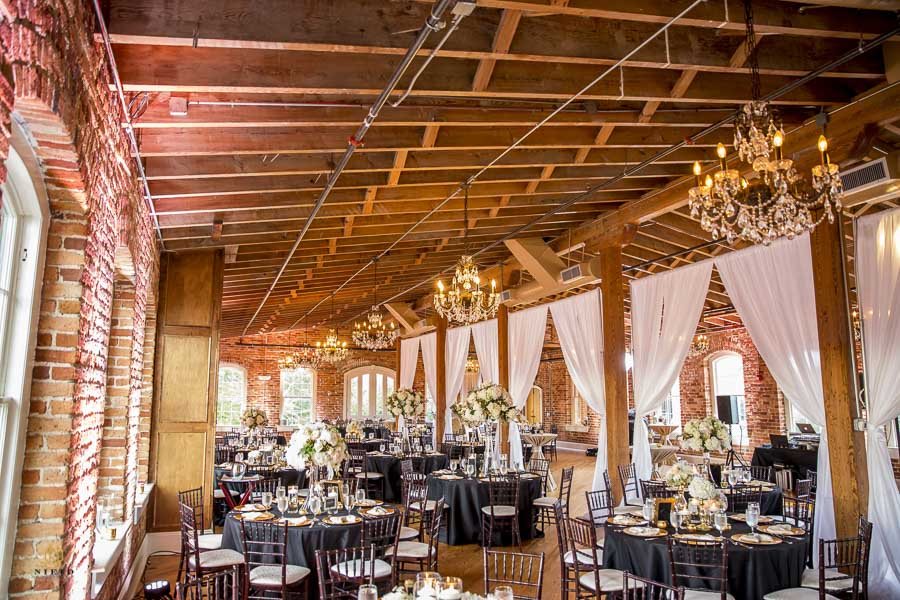 Melrose Knitting Mill decorated for a wedding with the chandelier turned on