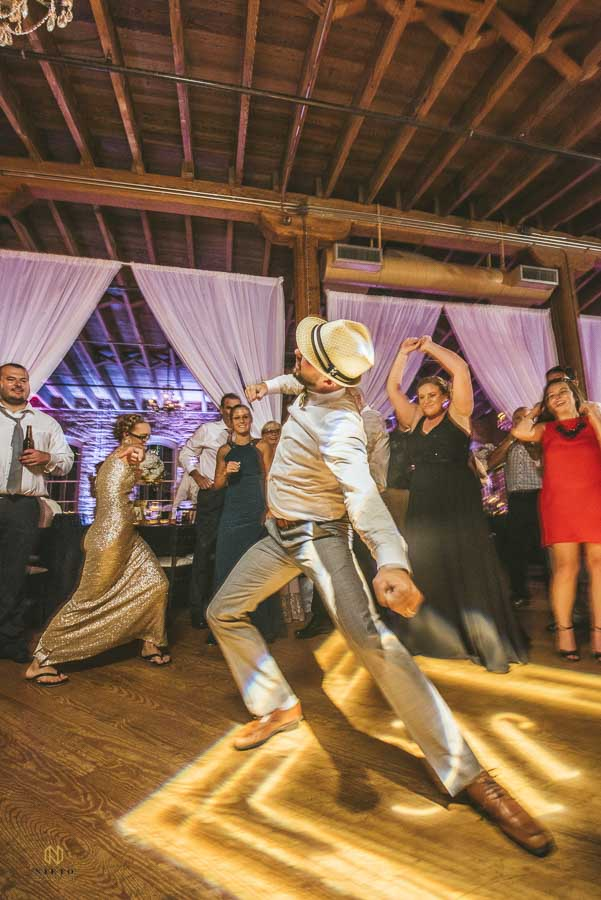 wedding guest dancing at Melrose Knitting Mill