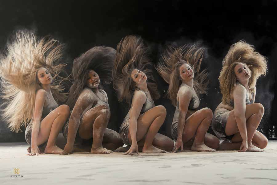dancers flipping their hair for a creative dance shoot