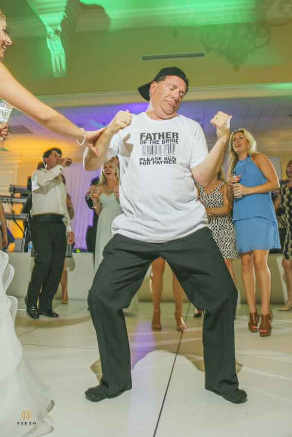 Father of the bride dancing at Rose Hill with a funny T-shirt