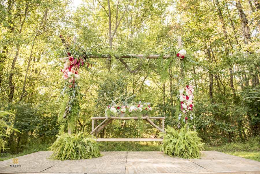 decorated altar at cedar grove acres