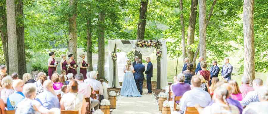 panorama of the ceremony site at chapel in the woods