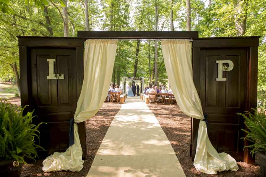 ceremony doors at chapel in the woods