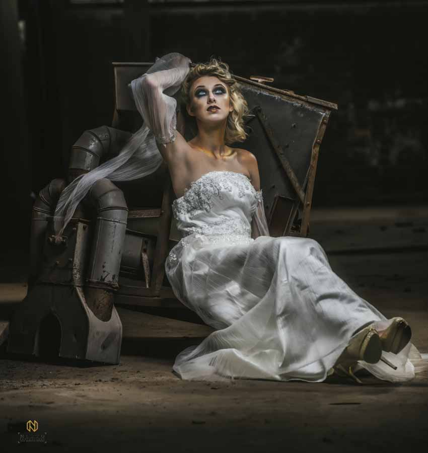 Editorial Bridal Portraits shot in a old textile factory