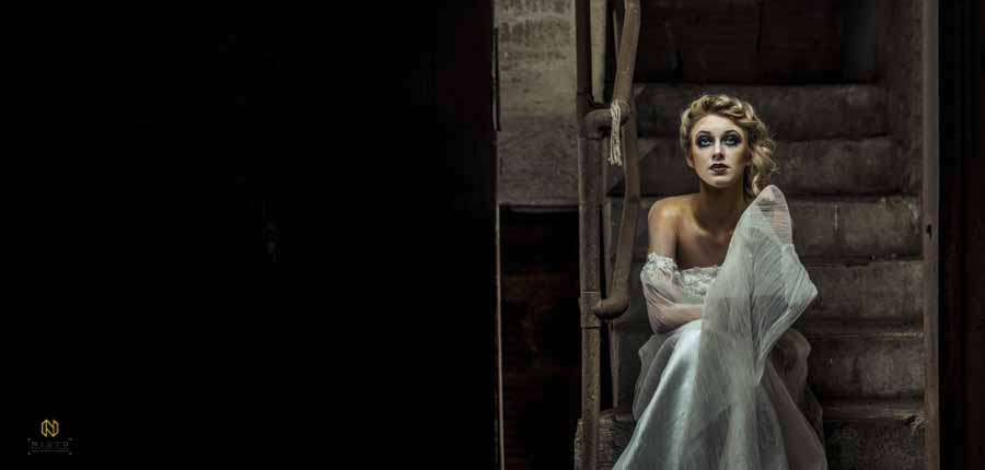 Editorial Bridal Portraits shot in an old stairwell