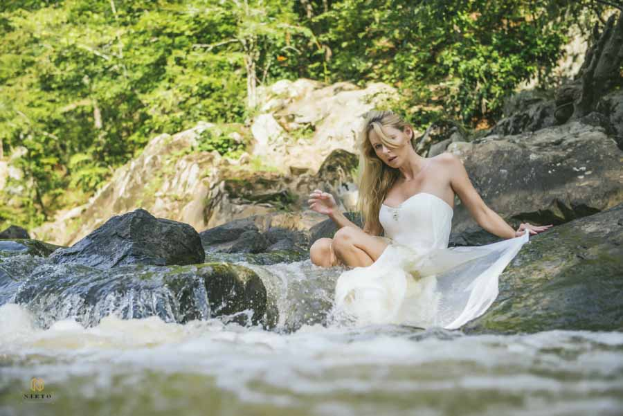 Eno River Bridal Portrait of bride siting in a small rapid of the river