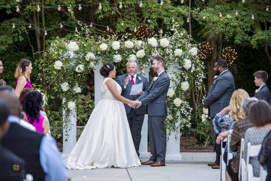 Wedding ceremony at the garden on millbrook on the patio