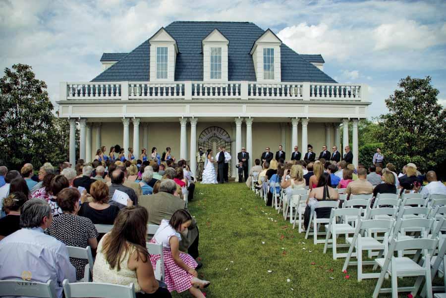 wide shot of a Hall at Landmark garden house wedding ceremony